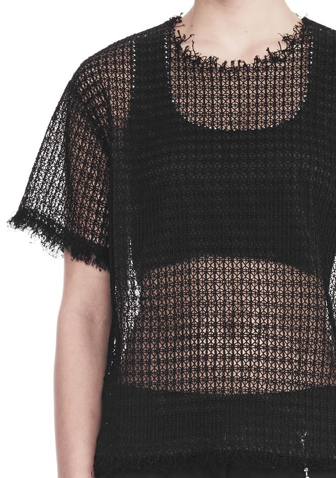 ALEXANDER WANG LACY T-SHIRT WITH RAW EDGES TOP Adult 12_n_r