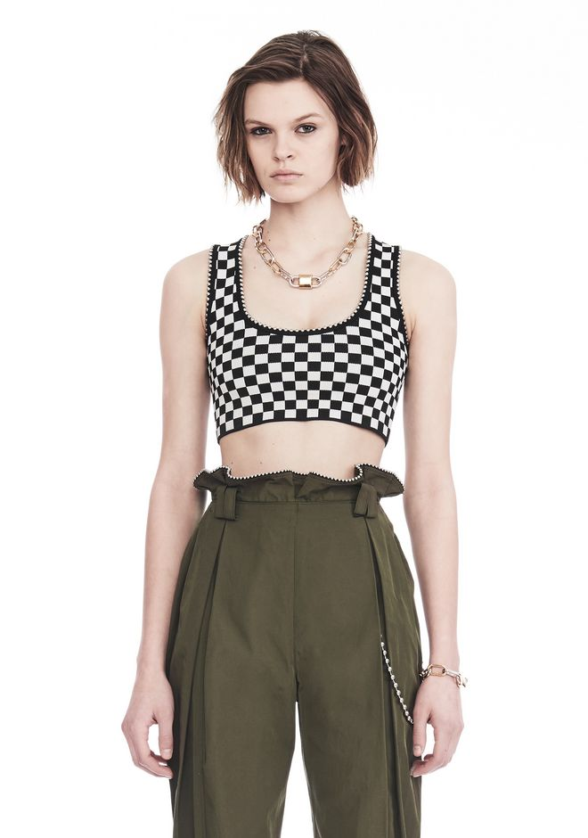 ALEXANDER WANG slrtwtp CHECKERBOARD BRA TOP WITH BALL CHAIN TRIM