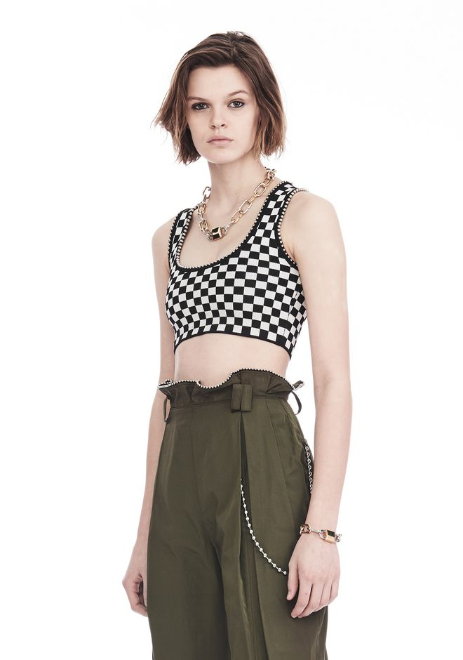 ALEXANDER WANG CHECKERBOARD BRA TOP WITH BALL CHAIN TRIM TOP Adult 12_n_a