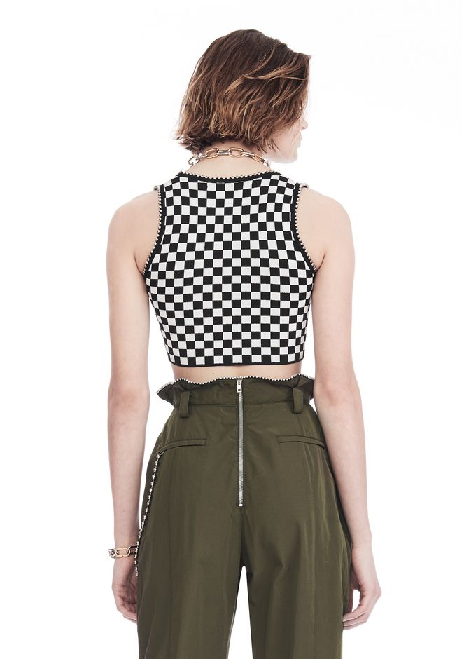 ALEXANDER WANG CHECKERBOARD BRA TOP WITH BALL CHAIN TRIM TOP Adult 12_n_d