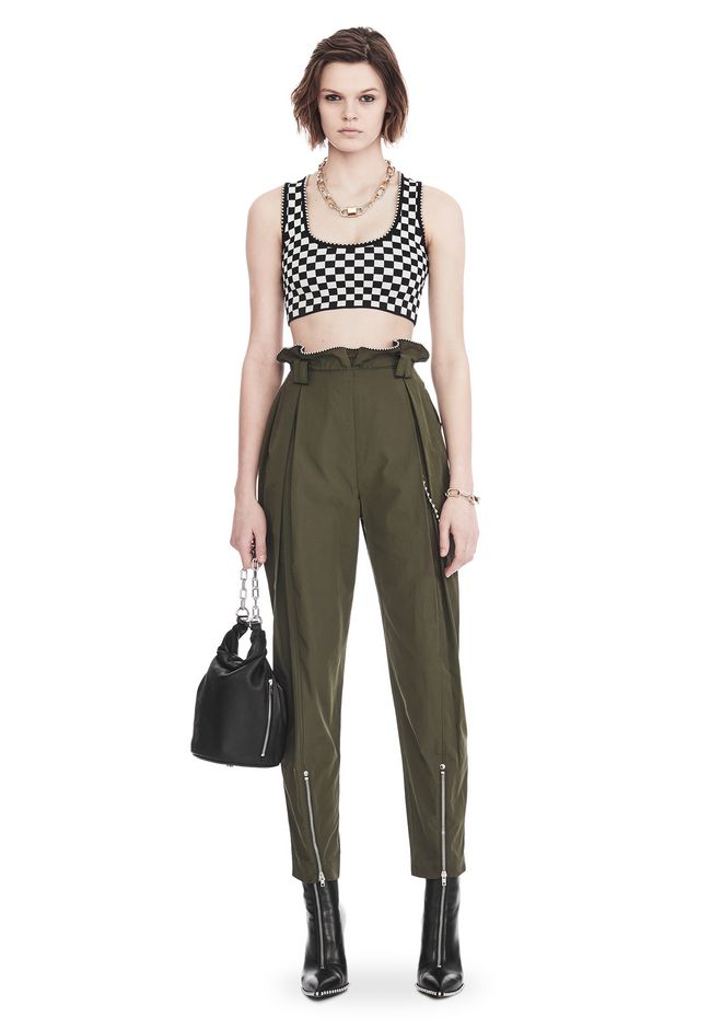 ALEXANDER WANG CHECKERBOARD BRA TOP WITH BALL CHAIN TRIM TOP Adult 12_n_f