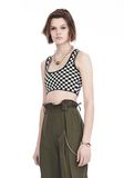 ALEXANDER WANG CHECKERBOARD BRA TOP WITH BALL CHAIN TRIM TOP Adult 8_n_a