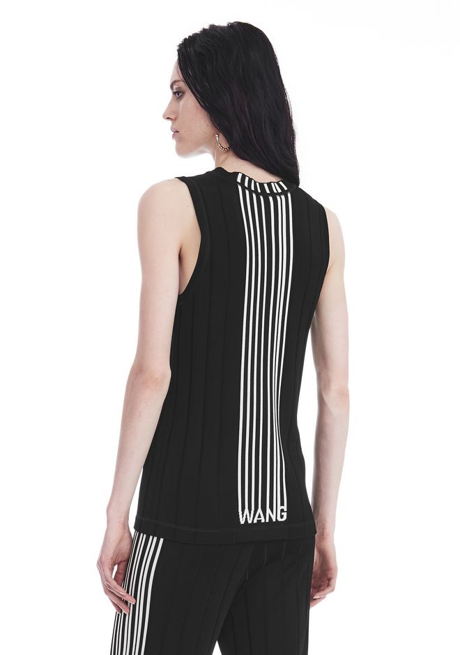 ALEXANDER WANG exclusives EXCLUSIVE TANK TOP WITH BARCODE LOGO