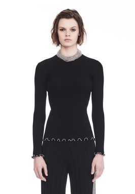 RIBBED PULLOVER WITH RUFFLED BALL CHAIN HEMS