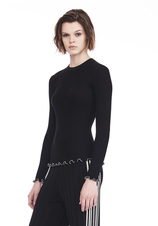 ALEXANDER WANG RIBBED PULLOVER WITH RUFFLED BALL CHAIN HEMS  TOP Adult 12_n_a