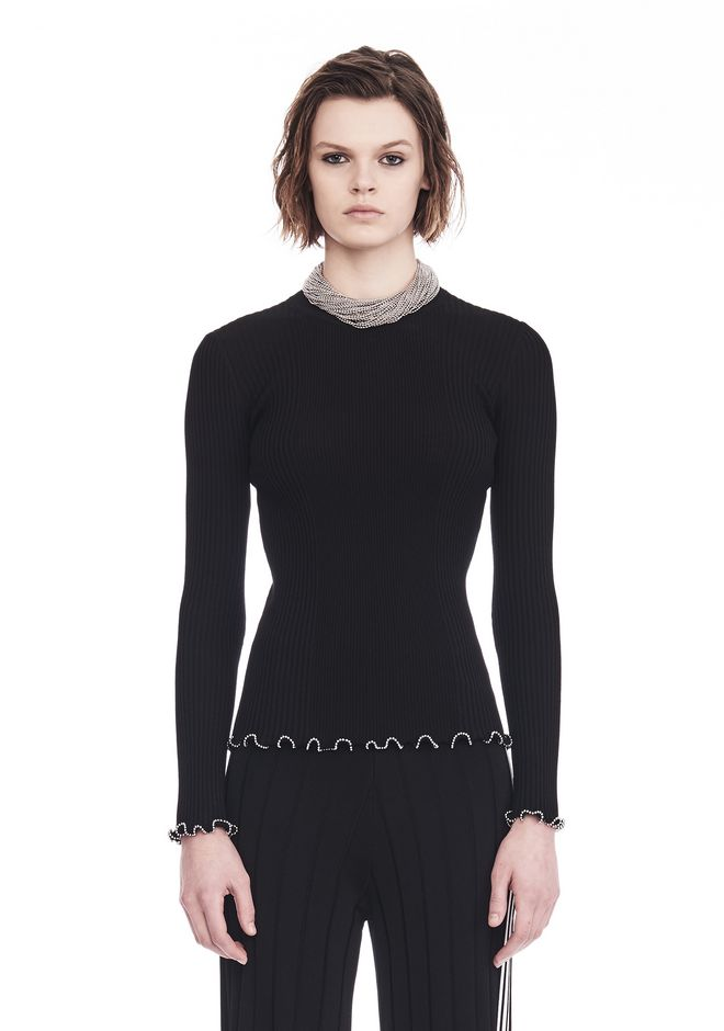 ALEXANDER WANG RIBBED PULLOVER WITH RUFFLED BALL CHAIN HEMS  TOP Adult 12_n_e