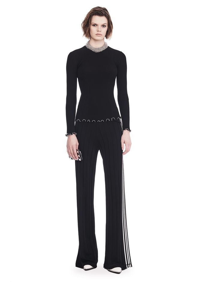 ALEXANDER WANG RIBBED PULLOVER WITH RUFFLED BALL CHAIN HEMS  TOP Adult 12_n_f