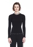 ALEXANDER WANG RIBBED PULLOVER WITH RUFFLED BALL CHAIN HEMS  TOP Adult 8_n_e
