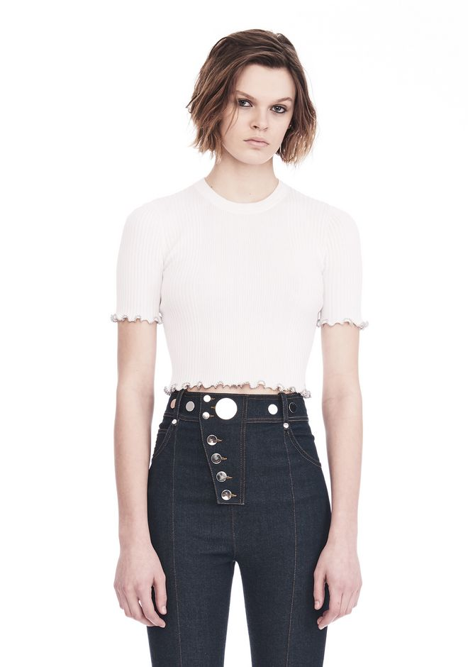 ALEXANDER WANG knitwear-ready-to-wear-woman RIBBED CROPPED TEE WITH RUFFLED BALL CHAIN HEMS