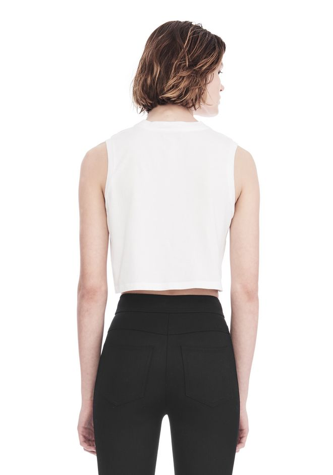 ALEXANDER WANG CREWNECK CROP TOP WITH STRICT PATCH TANK Adult 12_n_d