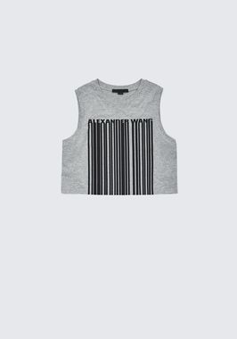 EXCLUSIVE CREWNECK CROP TOP WITH BONDED BARCODE