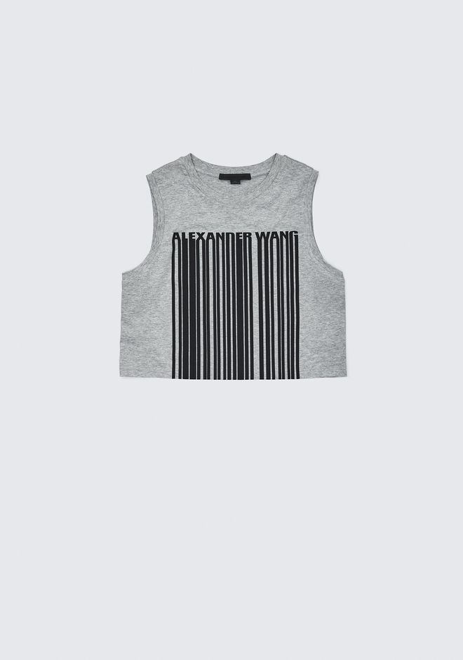 ALEXANDER WANG DÉBARDEURS Femme EXCLUSIVE CREWNECK CROP TOP WITH BONDED BARCODE