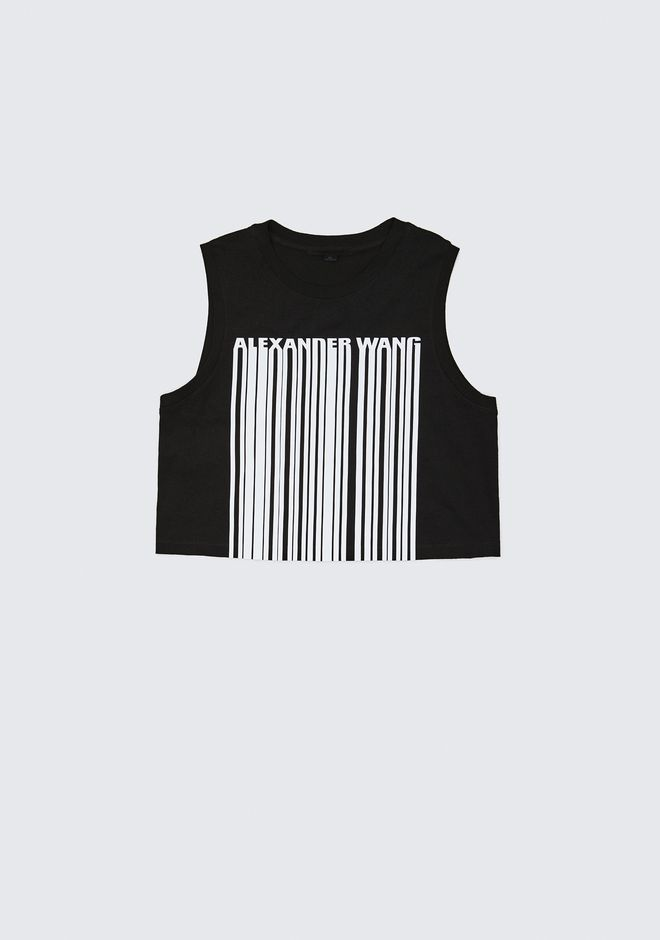 ALEXANDER WANG barcode EXCLUSIVE CREWNECK CROP TOP WITH BONDED BARCODE