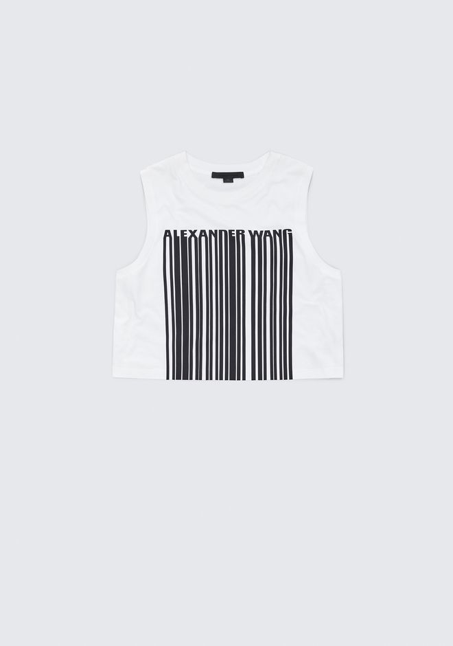 ALEXANDER WANG EXCLUSIVE CREWNECK CROP TOP WITH BONDED BARCODE TANK Adult 12_n_e