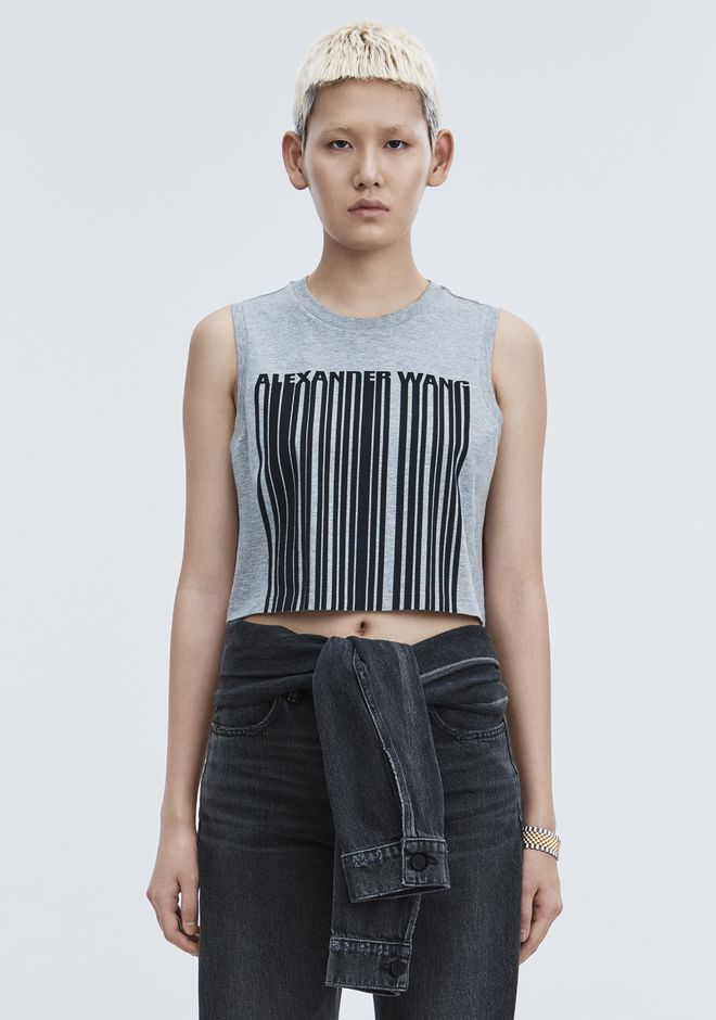 ALEXANDER WANG EXCLUSIVE CREWNECK CROP TOP WITH BONDED BARCODE TANK Adult 12_n_a