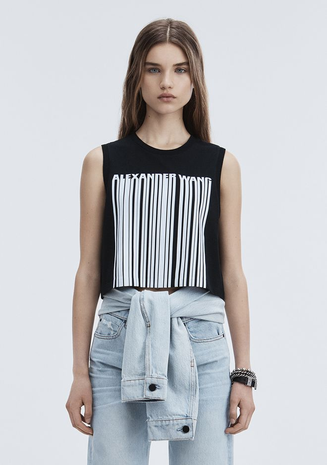 ALEXANDER WANG EXCLUSIVE CREWNECK CROP TOP WITH BONDED BARCODE CANOTTA Adult 12_n_a