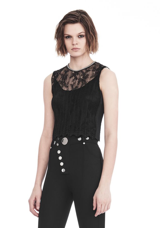 ALEXANDER WANG PLEATED SLEEVELESS TOP WITH NECKLACE CHAIN TRIM TOP Adult 12_n_a