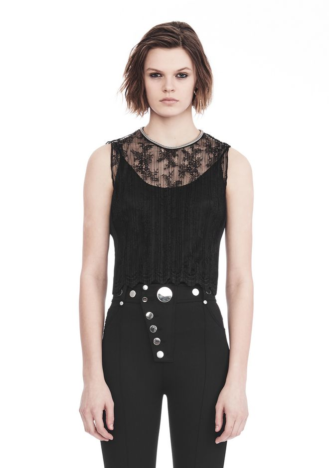 ALEXANDER WANG PLEATED SLEEVELESS TOP WITH NECKLACE CHAIN TRIM TOP Adult 12_n_e