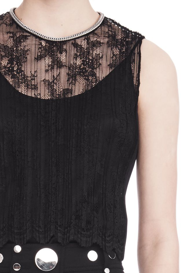 ALEXANDER WANG PLEATED SLEEVELESS TOP WITH NECKLACE CHAIN TRIM TOP Adult 12_n_r