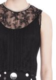 ALEXANDER WANG PLEATED SLEEVELESS TOP WITH NECKLACE CHAIN TRIM TOP Adult 8_n_r