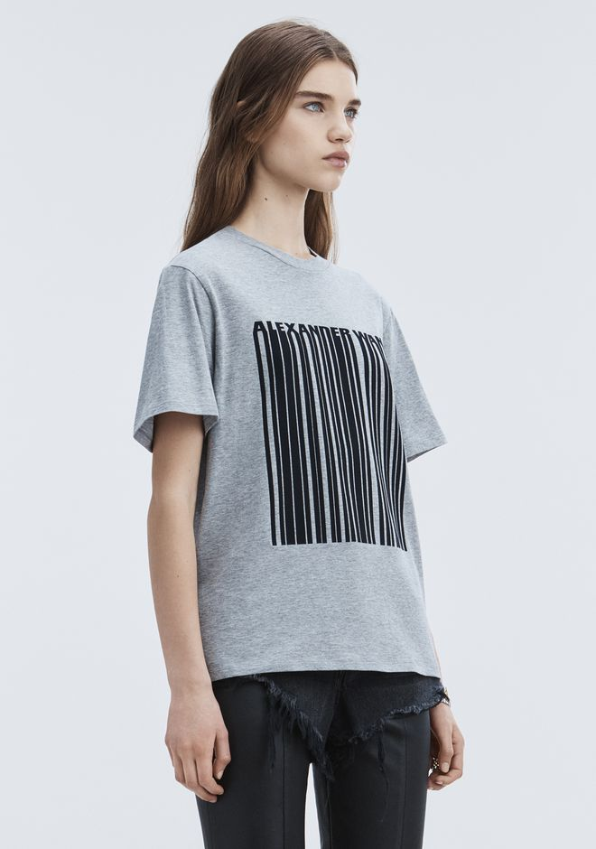 ALEXANDER WANG EXCLUSIVE T-SHIRT WITH BONDED BARCODE TOPS Adult 12_n_a