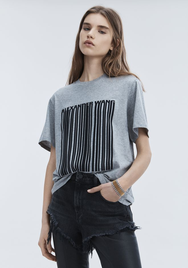 ALEXANDER WANG EXCLUSIVE T-SHIRT WITH BONDED BARCODE TOPS Adult 12_n_d
