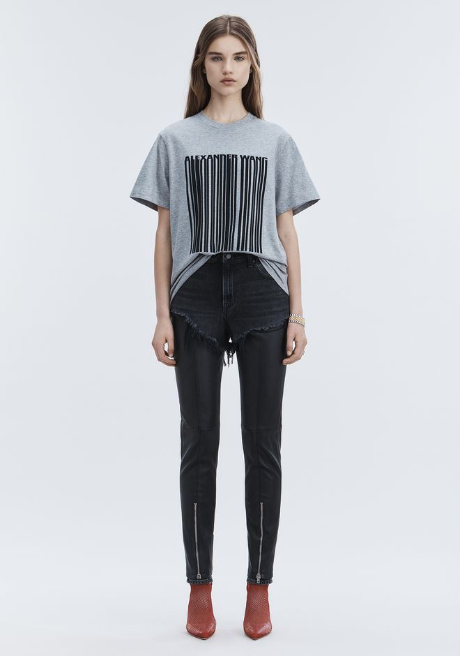 ALEXANDER WANG EXCLUSIVE T-SHIRT WITH BONDED BARCODE TOP Adult 12_n_f