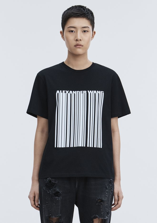 ALEXANDER WANG EXCLUSIVE T-SHIRT WITH BONDED BARCODE HAUTS Adult 12_n_a