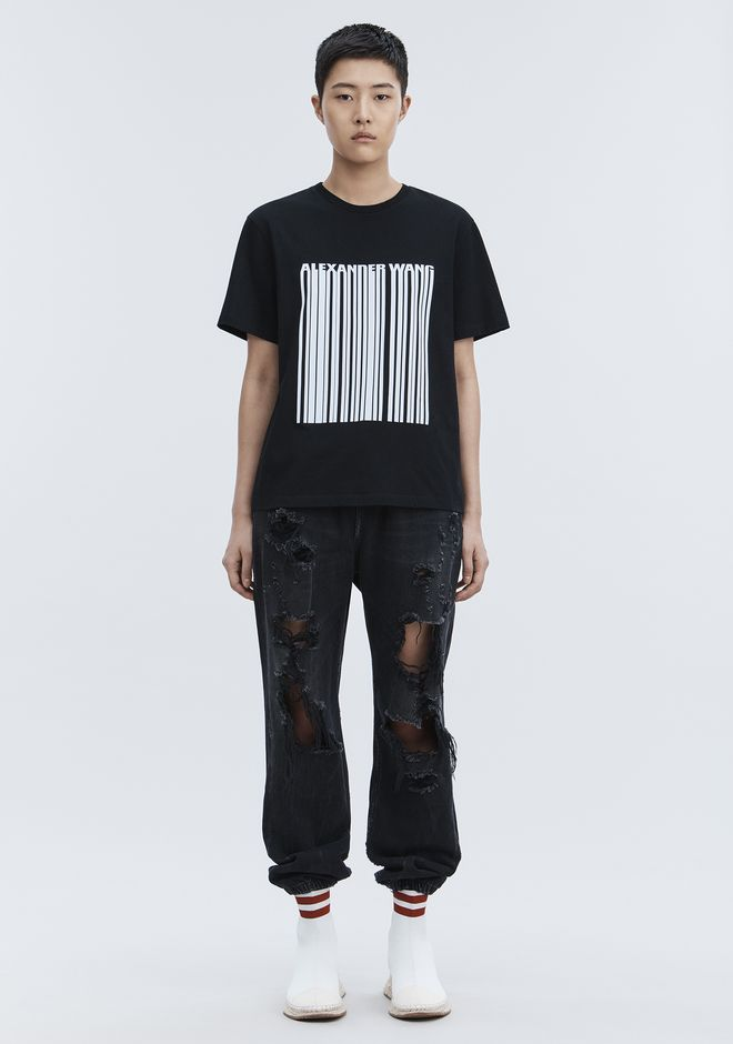 ALEXANDER WANG EXCLUSIVE T-SHIRT WITH BONDED BARCODE HAUTS Adult 12_n_f