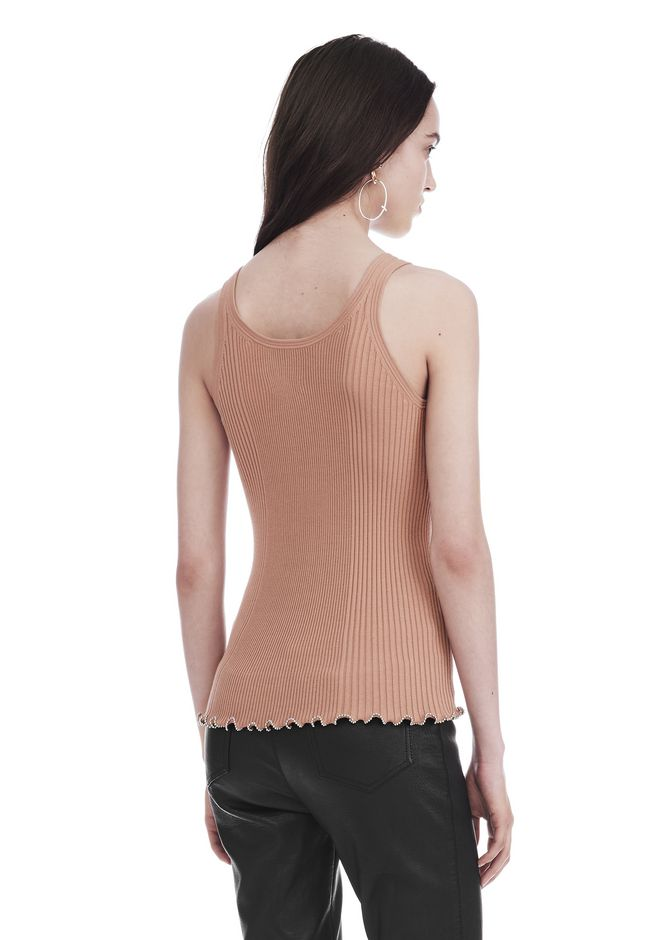 ALEXANDER WANG RIBBED TANK WITH RUFFLED BALL CHAIN HEM TOP Adult 12_n_a
