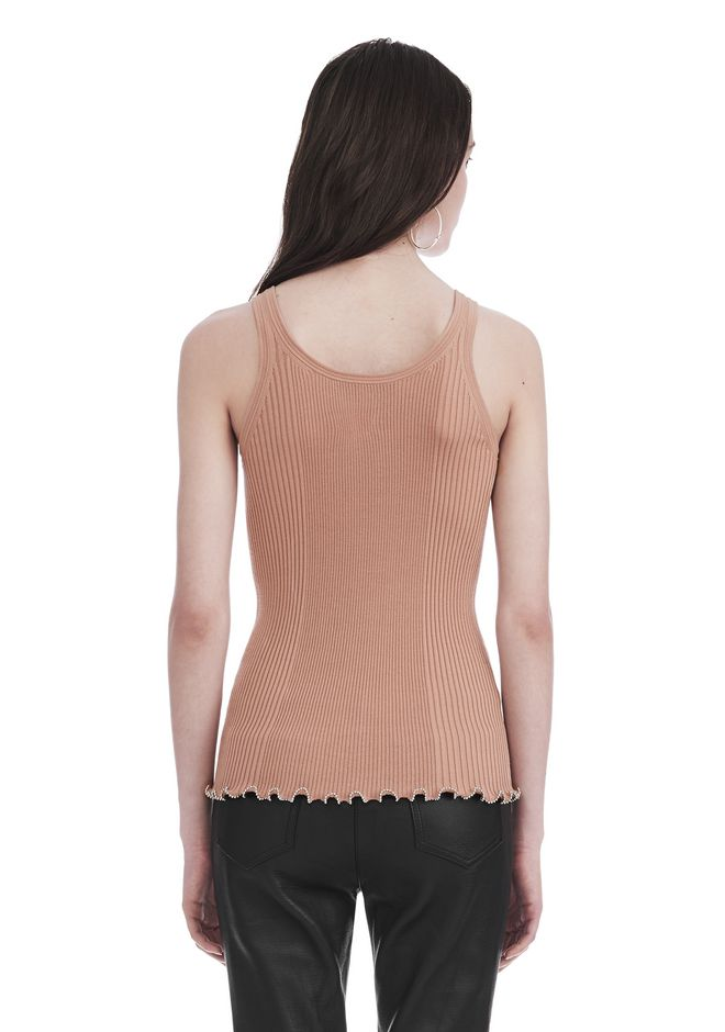 ALEXANDER WANG RIBBED TANK WITH RUFFLED BALL CHAIN HEM TOP Adult 12_n_d