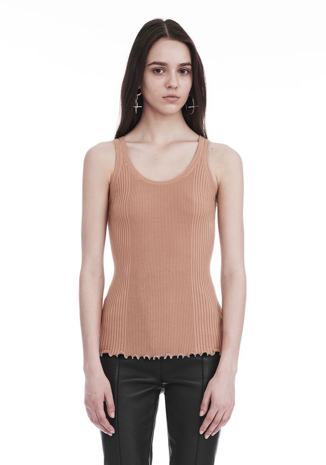 ALEXANDER WANG RIBBED TANK WITH RUFFLED BALL CHAIN HEM TOP Adult 12_n_e