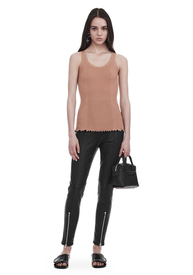 ALEXANDER WANG RIBBED TANK WITH RUFFLED BALL CHAIN HEM TOP Adult 12_n_f