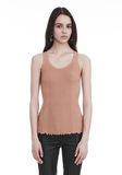 ALEXANDER WANG RIBBED TANK WITH RUFFLED BALL CHAIN HEM TOP Adult 8_n_e