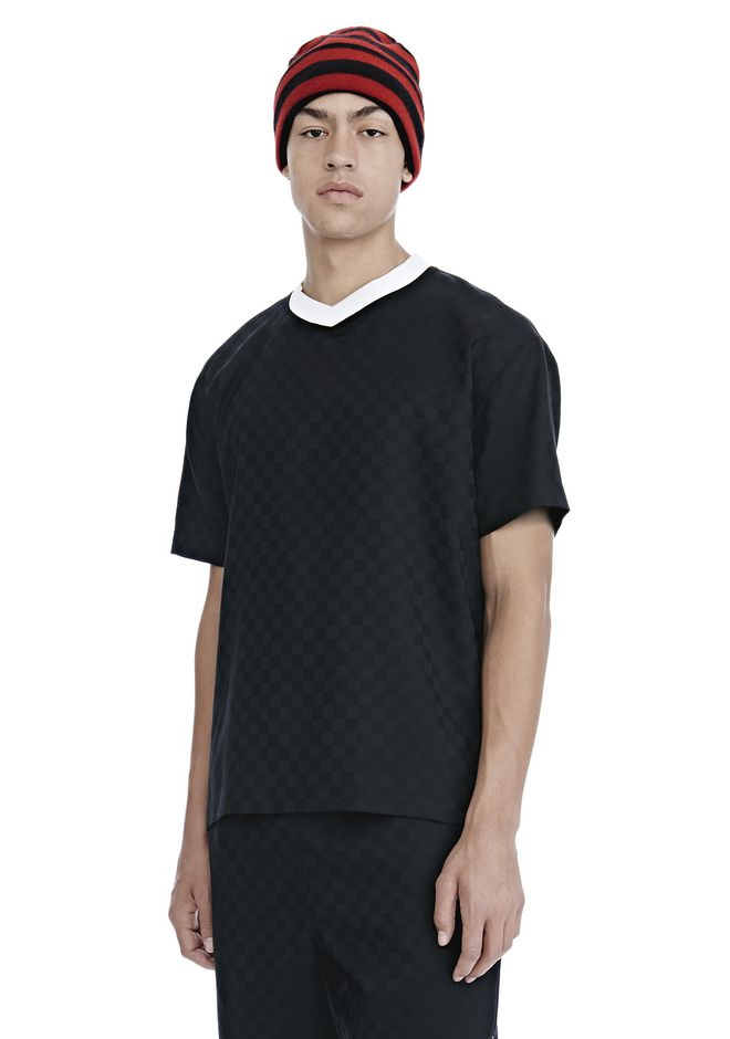 ALEXANDER WANG CHECKERBOARD WOOL JACQUARD SOCCER TEE TOP Adult 12_n_a