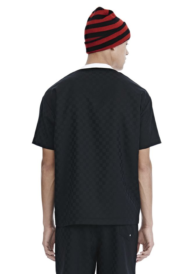 ALEXANDER WANG CHECKERBOARD WOOL JACQUARD SOCCER TEE TOP Adult 12_n_d