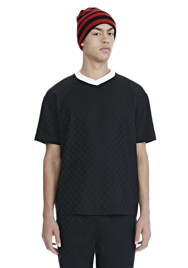 ALEXANDER WANG CHECKERBOARD WOOL JACQUARD SOCCER TEE TOP Adult 12_n_e