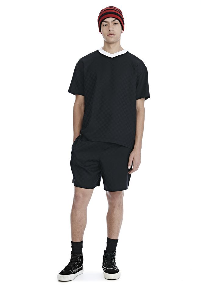 ALEXANDER WANG CHECKERBOARD WOOL JACQUARD SOCCER TEE TOP Adult 12_n_f