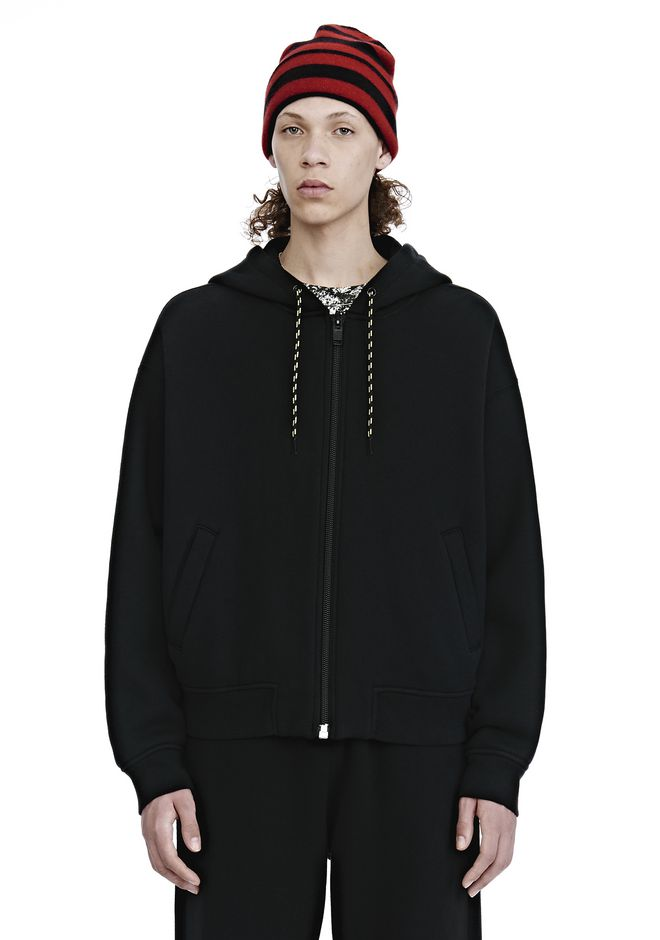 ALEXANDER WANG mens-new-apparel DENSE FLEECE ZIP UP HOODIE
