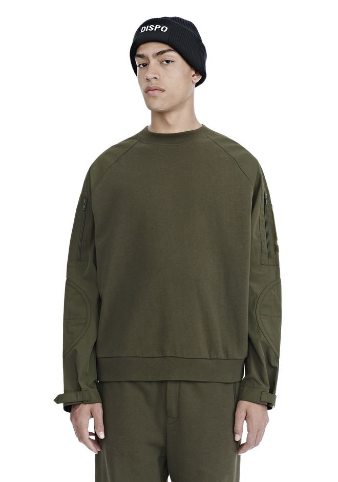 ALEXANDER WANG TOPS VINTAGE FLEECE NYLON COMBO SWEATSHIRT
