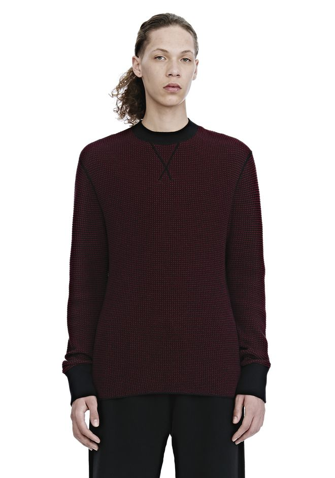 ALEXANDER WANG ready-to-wear-sale WAFFLE STITCH LONG SLEEVE PULLOVER