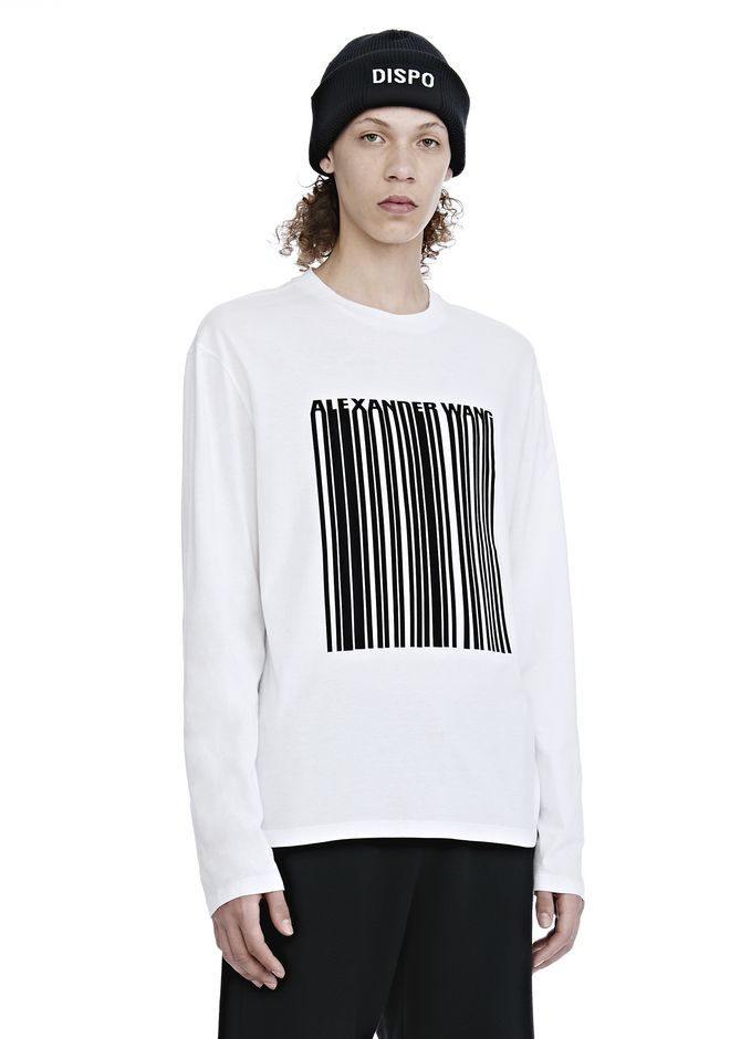 ALEXANDER WANG LONG SLEEVE BARCODE TEE TOP Adult 12_n_a