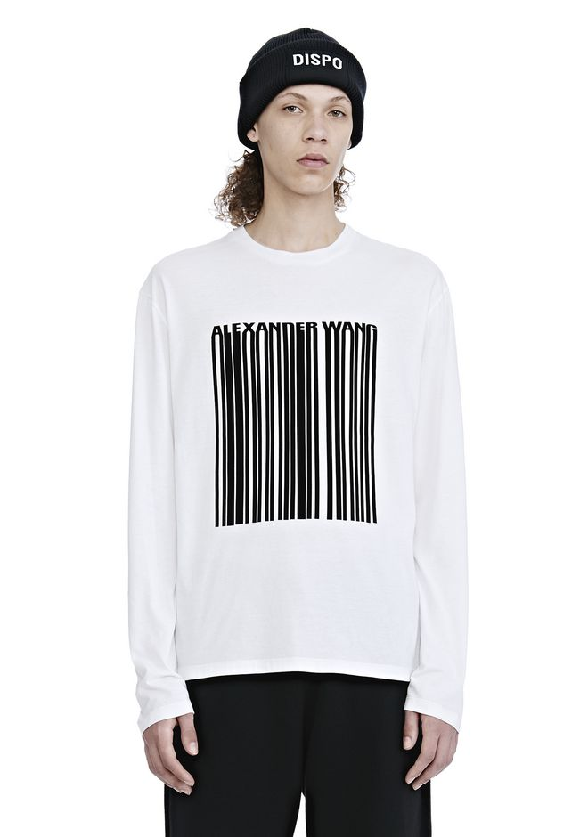 ALEXANDER WANG LONG SLEEVE BARCODE TEE TOP Adult 12_n_e