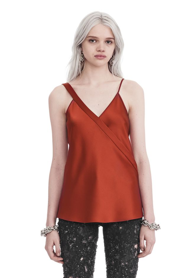 T by ALEXANDER WANG SLEEVELESS WRAP FRONT SATIN TANK 上衣 Adult 12_n_e