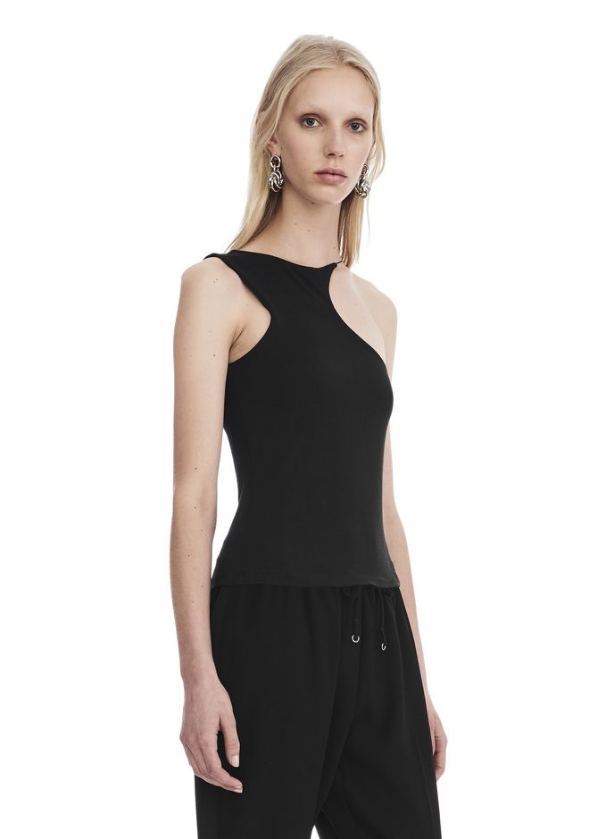 T by ALEXANDER WANG STRETCH JERSEY ASYMMETRICAL CUTOUT TANK 上衣 Adult 12_n_a
