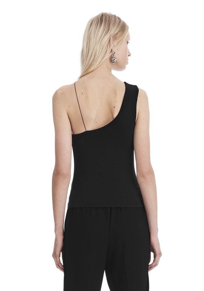 T by ALEXANDER WANG STRETCH JERSEY ASYMMETRICAL CUTOUT TANK 上衣 Adult 12_n_d