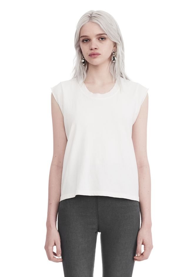 T by ALEXANDER WANG HIGH TWIST JERSEY MUSCLE TEE  TOP Adult 12_n_e