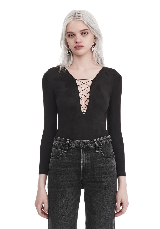 T by ALEXANDER WANG TOPS STRETCH FAUX SUEDE LONG SLEEVE LACE-UP BODYSUIT