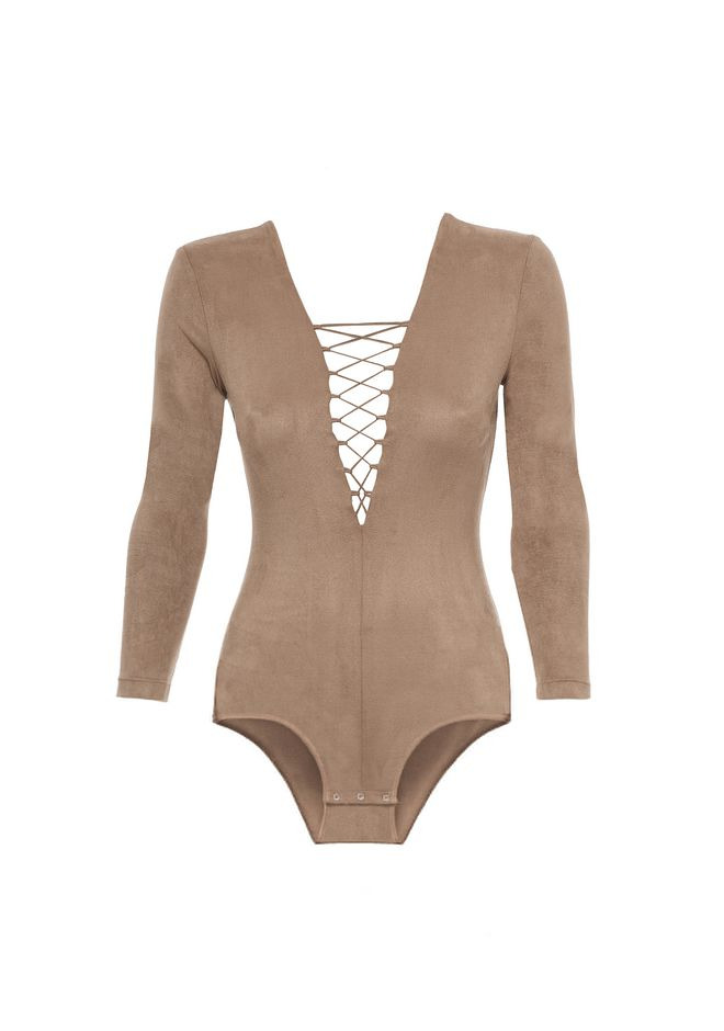 T by ALEXANDER WANG STRETCH FAUX SUEDE LONG SLEEVE LACE-UP BODYSUIT 上衣 Adult 12_n_d