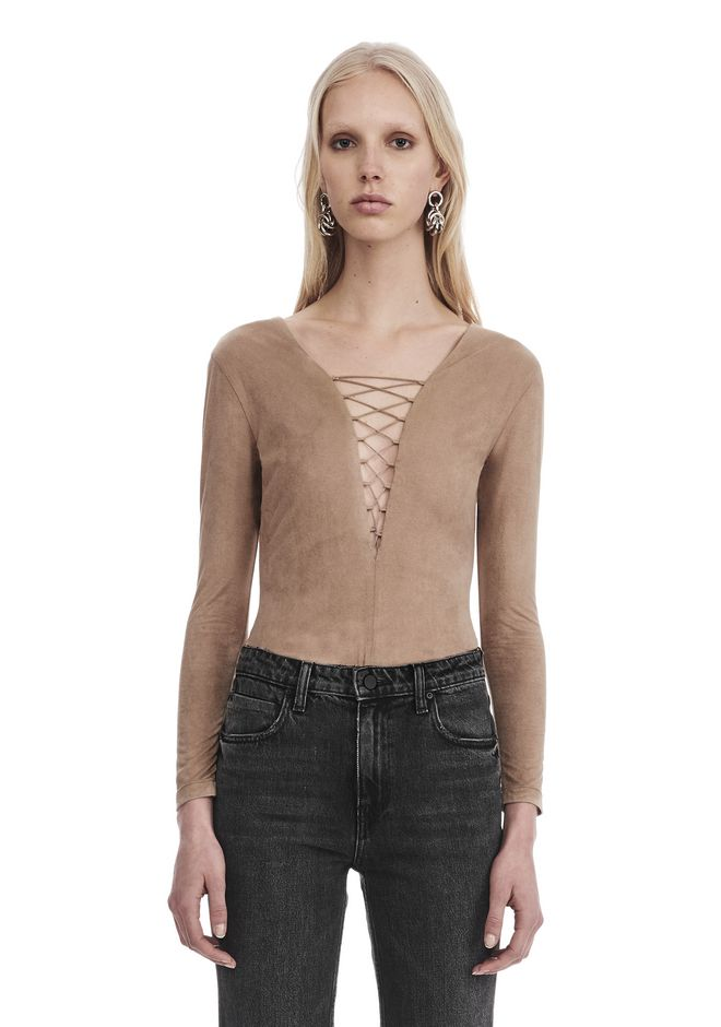 T by ALEXANDER WANG STRETCH FAUX SUEDE LONG SLEEVE LACE-UP BODYSUIT TOP Adult 12_n_e